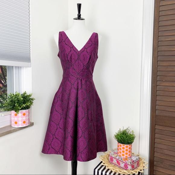 Yoana Baraschi Jacquard Purple Magenta Dress